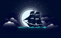 Free Sailing Vessel. A Battleship Or Galleon Is Floating In The Wind. Against The Background Of Stars And The Full Moon. Vector Illustr Royalty Free Stock Photo - 182720945