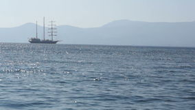 Sailing vessel anchored 1 stock video footage