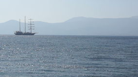 Sailing vessel anchored 2 stock video