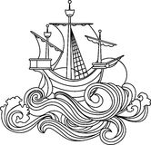 Sailing vessel in art nouveau style. Stencil Stock Photography