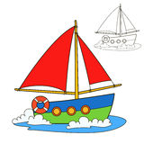 Sailing vessel. Coloring book page Royalty Free Stock Photography