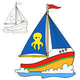 Sailing vessel. Coloring book page Stock Photos