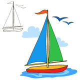 Sailing vessel. Coloring book page. Cartoon vector illustration Royalty Free Stock Photography