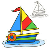 Sailing vessel. Coloring book page Royalty Free Stock Photos