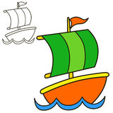 Sailing vessel. Coloring book page Stock Photo