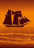 Sailing vessel, evening sea. Royalty Free Stock Photography