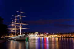 Sailing vessel in the harbour of Stockholm Royalty Free Stock Photo