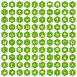 100 sailing vessel icons hexagon green. 100 sailing vessel icons set in green hexagon isolated vector illustration Stock Photos