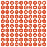 100 sailing vessel icons hexagon orange. 100 sailing vessel icons set in orange hexagon isolated vector illustration Stock Photography