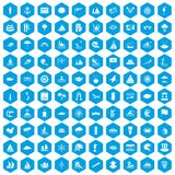 100 sailing vessel icons set blue. 100 sailing vessel icons set in blue hexagon isolated vector illustration stock illustration
