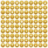 100 sailing vessel icons set gold. 100 sailing vessel icons set in gold circle isolated on white vectr illustration Royalty Free Illustration