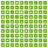 100 sailing vessel icons set grunge green. 100 sailing vessel icons set in grunge style green color isolated on white background vector illustration Royalty Free Stock Photo