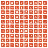 100 sailing vessel icons set grunge orange. 100 sailing vessel icons set in grunge style orange color isolated on white background vector illustration Royalty Free Stock Photo
