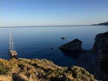 Sailing vessel Kythera island. Sunset and wonderful calm sea Stock Photography