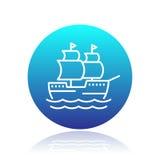 Sailing vessel line icon, ship pictogram royalty free illustration