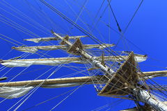 Sailing vessel mast ropes Stock Photos