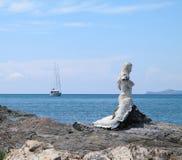 Sailing vessel and mermaid on coast Siamese gulf Stock Photography