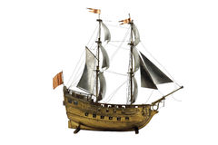 Sailing vessel model. Author's model of the sailing ship from metal detatly Stock Photography