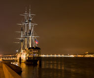 Sailing vessel moored at Neva river bank. Stock Photos