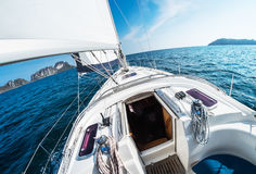 Sailing vessel moves in an open sea Royalty Free Stock Images