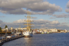 Sailing vessel at Neva-river embankment Stock Photos