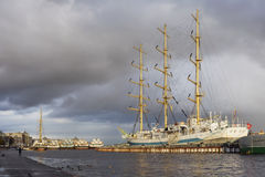 Sailing vessel at Neva-river embankment Stock Image