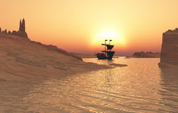 Sailing vessel off on adventure royalty free stock images