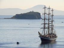 Vladivostok, Primorsky kray / Russia - September 17 2018: Sailing vessel Pallada at anchor in port Vladivostok roadstead stock images