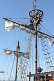 Sailing vessel. Pirate vessel sail ship detail Royalty Free Stock Photo
