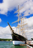 Sailing Vessel Pommern, Mariehamn, Finland. The four-masted sailing vessel Pommern, a famous old ship lying in the port of Mariehamn, the capital of the island Stock Image