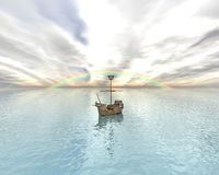 Sailing vessel in the rainbow sea Stock Photography