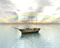 Sailing vessel in the rainbow sea Stock Image