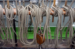 Sailing vessel ropes Royalty Free Stock Photo