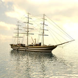 Sailing vessel in the sea Stock Image