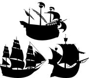 Sailing vessel silhouettes set Royalty Free Stock Image