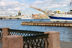 Sailing vessel in St-Petersburg port Stock Photo