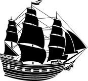 Sailing vessel stencil  second variant Stock Image