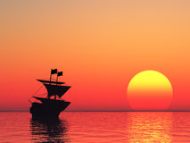 Sailing vessel and sunset Stock Images