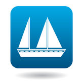Sailing vessel with two masts icon, flat style Royalty Free Stock Photo