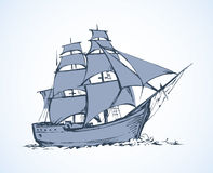 Sailing vessel. Vector drawing Royalty Free Stock Image