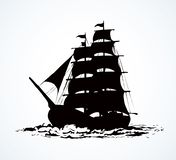 Sailing vessel. Vector drawing. Wooden classic tall buccaneer sailfish galley pictogram isolated on white sky. Freehand line black ink hand drawn logo sign vector illustration