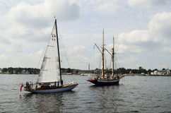 Sailing vessels in the Gulf of Riga. Royalty Free Stock Photography