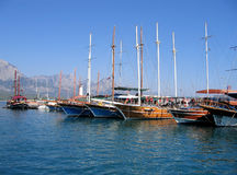 Sailing vessels in the harbor. Of the Turkish city Stock Photos
