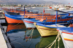 Sailing vessels in the harbor of the Turkish city Stock Photography