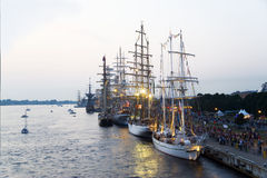 Sailing vessels of the international regatta in port Riga Stock Photography