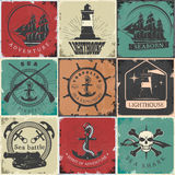 Sailing Vintage Stickers Stock Images