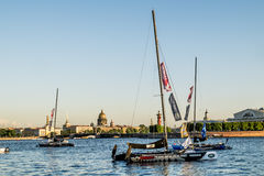 Sailing in the waters of the Neva River in St. Petersburg at the Royalty Free Stock Images