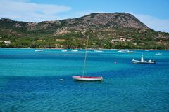 Sailing on the waters of Sardinia, in Italy Stock Photo