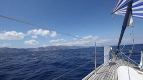 Sailing through waves in the Aegean Sea. Luxury. Travel.
