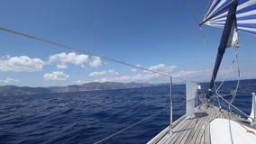 Sailing through waves in the Aegean Sea. Luxury. Travel.